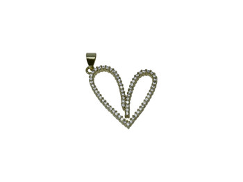 Gold Micro Pave 22x24mm Heart Charm