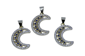 Gold Micro Pave 15x20mm Crescent Moon Charm