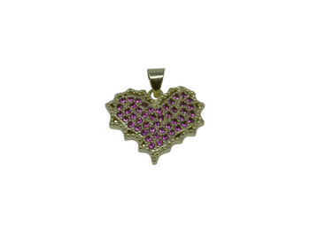 Gold Micro Pave 18x20mm Maple Leaf Heart Charm
