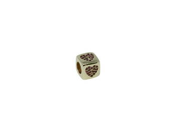 "Gold 8mm Micro Pave Cube ""Heart"" Bead"