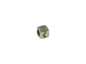 "Gold 8mm Micro Pave Cube ""Moon"" Bead"