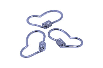 Silver Micro Pave Heart Carabiner