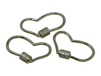 Gold Micro Pave Heart Carabiner