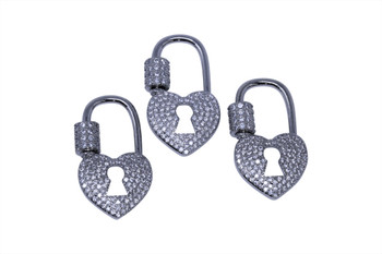Silver Micro Pave Heart Lock Carabiner