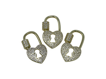 Gold Micro Pave Heart Lock Carabiner