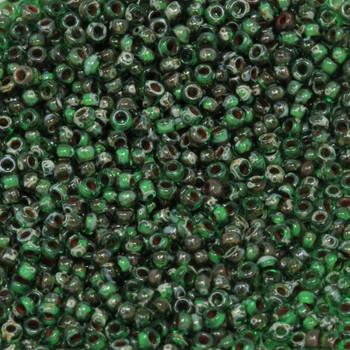 Size 11 Miyuki Seed Beads -- 4507 Picasso Transparent Green