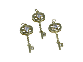 Gold Micro Pave 14x34mm Oval Key Charm