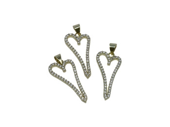 Gold Micro Pave 14x28mm Long Heart Charm