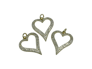 Gold Micro Pave 24x20mm Open Heart Charm