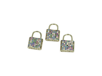 Gold Micro Pave 11x16mm Multi Color Lock Charm