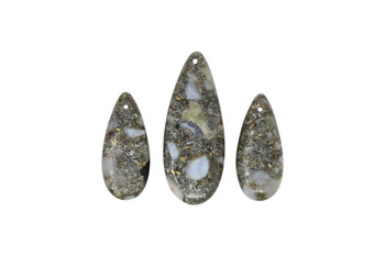 Blue Chalcedony Polished 15x35mm - 20x50mm Drops with Pyrite - Sold as 3 Piece Set