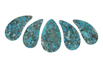 Turquoise Impression Jasper Polished 28x48mm - 30x50mm Top Drilled Drops with Pyrite - Sold as 5 Piece Set