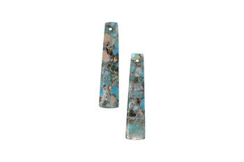 Turquoise Impression Jasper Polished 10x48mm Rectangular Drop with Pyrite Inlay - Sold as Set