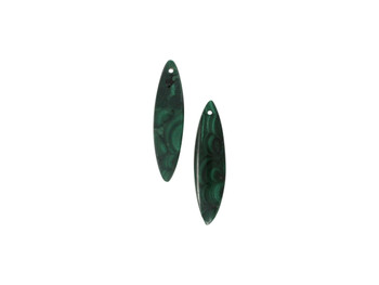 Malachite Polished 10x42mm Eye - Sold as Set