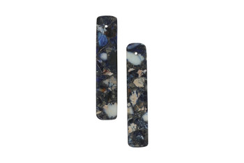 Navy Impression Jasper Polished 10x48mm Rectangles with Pyrite Inlay - Sold as Set