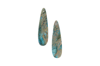 Blue Impression Jasper Polished 12x45mm Drop - Sold as Set