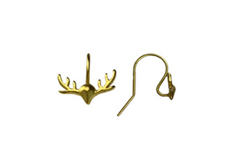14K Gold over Sterling Silver Reindeer Antler Earring Wires - Sold as a Pair
