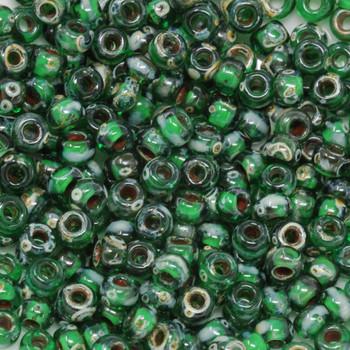 Size 6 Miyuki Seed Beads -- 4507 Picasso Transparent Green