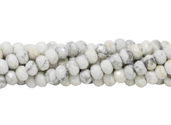 Howlite Polished White 5x8mm Faceted Rondel