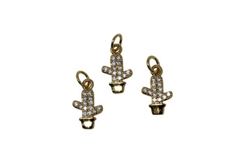 Gold Micro Pave Potted Cactus Charm
