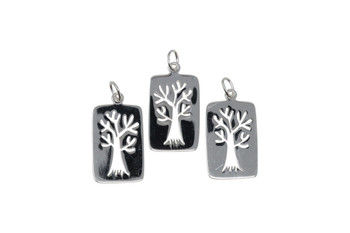 Rectangle Tree Outline - Sterling Silver