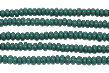 Ghana Glass Polished 6-7mm Spacer - Dark Teal