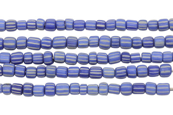 Gooseberry Glass Matte 4-5mm Semi Round - Blue / White Striped