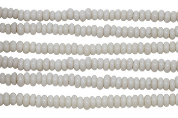 Ghana Glass Polished 6-7mm Spacer - Cream