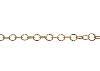 Gold 4.2x4mm Fine Round Cable Chain - Sold By 6 Inches