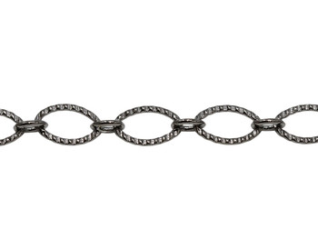 Gunmetal 9x6mm Textured Oval Cable Chain - Sold By 6 Inches
