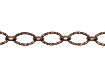 Antique Copper 9x6mm Textured Oval Cable Chain - Sold By 6 Inches