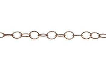 Rose Gold 6x5mm Oval Cable Chain - Sold By 6 inches