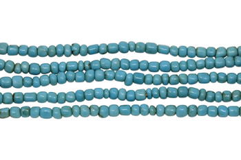 Vintage Maasai Glass Beads Polished 4-2mm Semi Round - Turquoise Bronze