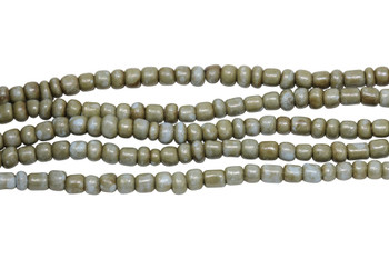 Vintage Maasai Glass Beads Polished 4-2mm Semi Round - Pale Blue Bronze