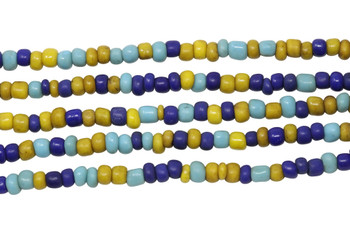 Vintage Maasai Glass Beads Polished 4-2mm Semi Round - Blue, Navy, Yellow