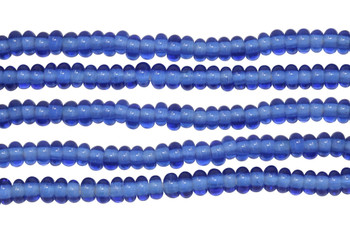 Ghana Glass Polished 6-7mm Spacer - Sapphire