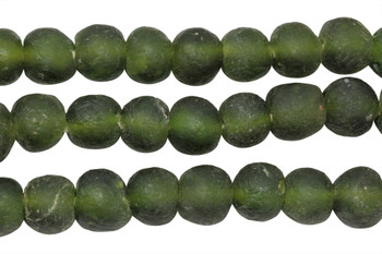 Recycled Bottle Glass 14mm Round - Olive