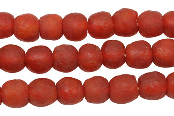 Recycled Bottle Glass 14mm Round - Red / Orange