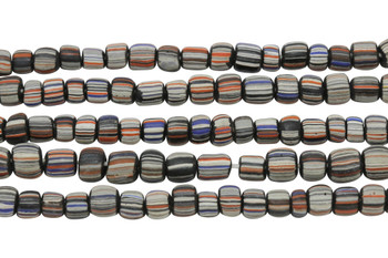 Gooseberry Glass Matte 4-5mm Semi Round - Black, Orange, Blue, White  Striped