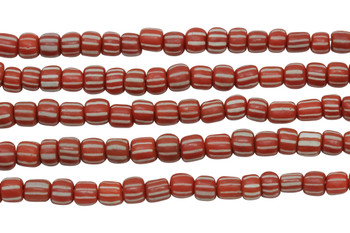 Gooseberry Glass Matte 4-5mm Semi Round - Red / Orange with White Stripes