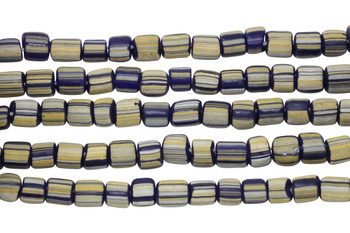 Gooseberry Glass Matte 4-5mm Semi Round - Navy / Yellow Striped