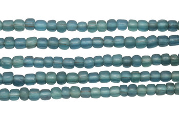 Gooseberry Glass Matte 4-5mm Semi Round - Teal