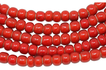 White Heart Glass Polished 7mm Round - Red
