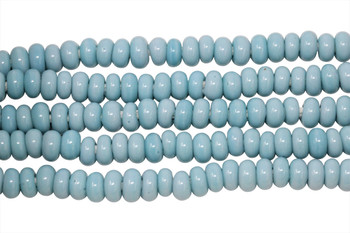 Ghana Glass Polished 6-7mm Spacer - Pale Blue