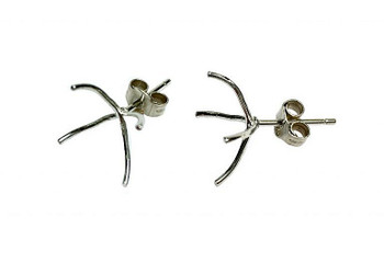 Sterling Silver Prong Huggies Stud Earrings - Sold as a Pair