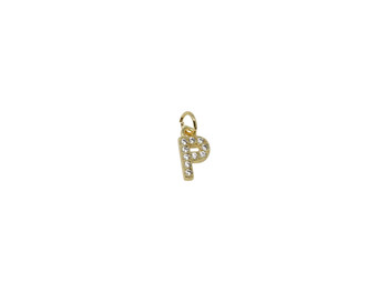 "Gold Micro Pave 8mm ""P"" Letter Charm"
