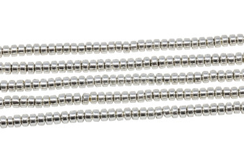 Sterling Silver Plated Hematite Polished 2x3mm Rondel