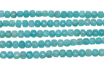 Amazonite Polished 4mm Faceted Cube