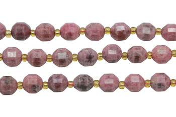 Rhodonite Polished 7x8mm Prism Rondel
