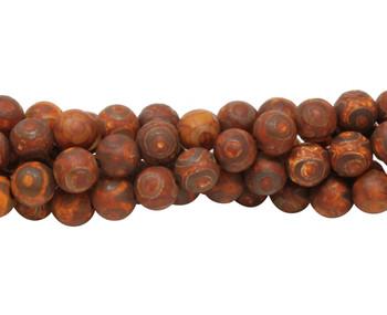 Tibetan Style Brown Antiqued Agate Matte 8mm Round